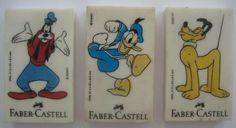 Borrachas Disney - Faber Castell, anos 90.