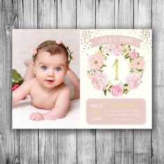 Garden Birthday Photo Invitation First Birthday Girls Picture Floral Pink Pastel Beige Off White Gold Dots Girl Kids Invite (Printable File)