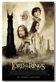 High quality reproduction movie poster for The Lord of the Rings: The Two Towers starring Elijah Wood, Ian McKellen and Orlando Bloom from 11 x 17 high quality reproduction on card stock. Legolas Et Gimli, Aragorn, Gandalf, Frodo Baggins, The Lord Of The Rings, The Ring Two, See Movie, Film Movie, Epic Movie