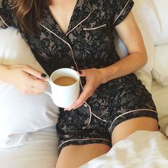 black lace pyjama is a chic and sexy idea - Lingerie, Sleepwear & Loungewear - http://amzn.to/2ieOApL