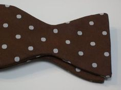 5b0f8cfd82 Marlon Garci 100% Woven Silk Brown with White Polka Dots Self-Tie Bow Tie  at Amazon Men s Clothing store