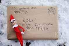 Surprise Your Kids Early in December with a Package from the North Pole/ Fill It with Christmas Books, DVD's, Coloring Books, etc. I think this is how the elf gets to our house Santa is mailing him' Christmas Books, Little Christmas, Christmas And New Year, All Things Christmas, Winter Christmas, Christmas Holidays, Christmas Ideas, Xmas Elf, Christmas Wrapping