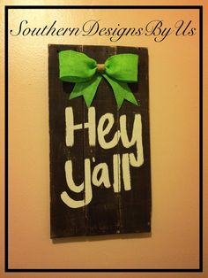 Rustic wood pallet hey y'all sign by SouthernDesignsByUs on Etsy