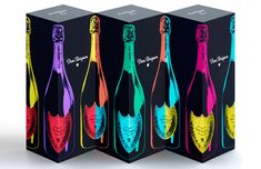 """""""With the creation of an exclusive collection of three bottles by the Design Laboratory at Central Saint Martin's School of Art & Design, Dom Pérignon pays tribute to Andy Warhol, creative genius and one of the most illustrious artists of the 20th century."""""""
