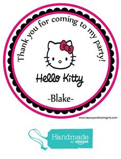 Hello Kitty Custom Personalized Stickers Birthday Party Favors - Treat Tag Toppers- 24 Stickers Popular Size 2.5 Inches. Peel and Stick Backing from Custom Party Favors, Handmade Craft , and Educational Products http://www.amazon.com/dp/B01E83A9DC/ref=hnd_sw_r_pi_dp_.u.uxb0P668Y5 #handmadeatamazon