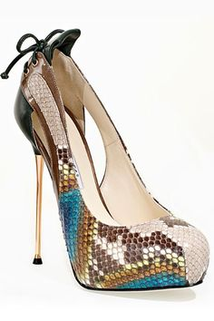 Brian Atwood Multicolor Snakeprint Open-Toe Stiletto Pumps Fall 2011 #Shoes #Heels