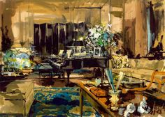 """""""Jeremiah, your painting of our living room is as I imagined it, much more than my actually seeing it, and that is a talent I admire"""" - Richard Rodgers -On the last sun-drenched bank holiday of 20..."""