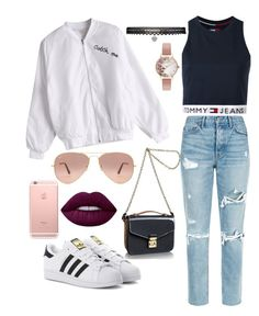 """""""Fav look"""" by neasstyle ❤ liked on Polyvore featuring adidas Originals, GRLFRND, Tommy Hilfiger, Louis Vuitton, Lime Crime, Olivia Burton, Ray-Ban and Betsey Johnson"""