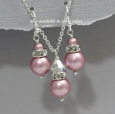 Pink Pearl Jewelry, Swarovski Powder Rose (Matte Dark Pink)  Pearl Necklace and Earring Set, Pink Bridesmaid Jewelry Set, Bridal Jewelry Set