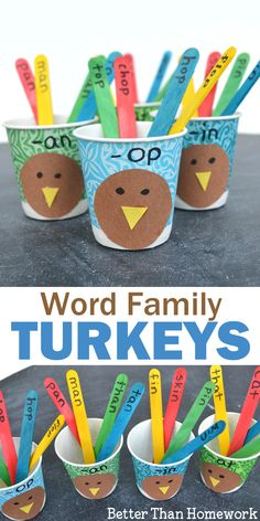 Practice reading with this fun Thanksgiving word family game for kids, Word Family Turkeys. Build the turkey's tail as you sort by word family. #Thanksgiving #wordfamily #literacy #BetterThanHomework