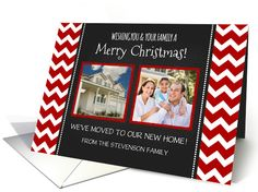 2 Photo Merry Christmas We've Moved Card - Red Chevron Chalkboard card by Dreaming Mind Cards