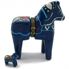 Swedish Dala Horse Hinge Box (Blue) - ScandinavianGiftOutlet  - 1