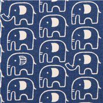 navy blue elephant Canvas fabric Kokka Japan