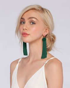 The Astrid Knotted Tassel Earrings - Green | Vanessa Mooney Jewelry