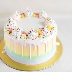 Pastel Rainbow with White Chocolate Drizzle and Meringue Decor - Custom Bakes by Edith Patisserie Beautiful Cakes, Amazing Cakes, Cloud Cake, Novelty Birthday Cakes, Colorful Cakes, Drip Cakes, Cute Cakes, Celebration Cakes, Let Them Eat Cake