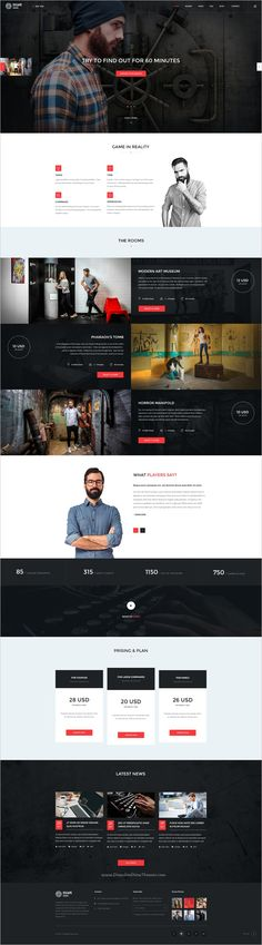 Buy Escape Room - PSD Template by skrylnik on ThemeForest. Escape Room template with a clean design that is intended to quests , logic games , to get to the room and defeat. Ui Ux Design, Clean Design, Logic Games, Web Design Inspiration, Design Ideas, Best Templates, Wordpress Template, Escape Room, Website Template