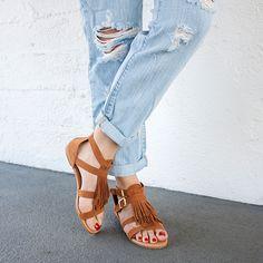 What The Fringe Gladiator Sandals