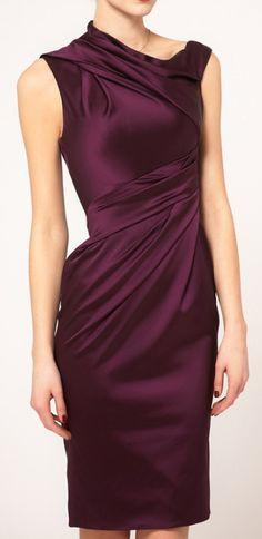 Sloping Shoulder   Aubergine Dress.   dresslily.com