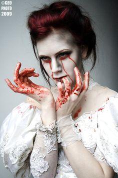 *acidicdivinity, beauty, blood, dark, deviant art, deviantart, funny games, girl, macabre, piercing, wedding, white dress, zombie