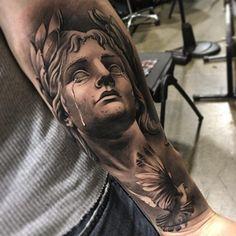 Full Sleeve Tattoo Design, Leg Sleeve Tattoo, Bicep Tattoo, God Tattoos, Jesus Tattoo, Religious Tattoo Sleeves, Greek Mythology Tattoos, Statue Tattoo, Aesthetic Tattoo