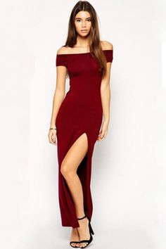 LUCLUC Burgundy Off Shoulder Hollow-out Slit Maxi Dress