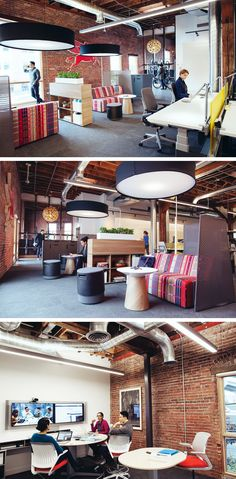 Exposed brick, open spaces with screens for privacy, and bold colors create an inspiring work environment in our Portland Innovation Center.