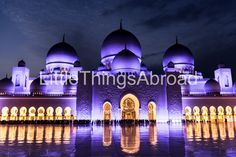Abu Dhabi Sheikh Zayed Grand Mosque photo, UAE, night sky, purple domes, little people, digital file, instant download, printable, travel by LittleThingsAbroad on Etsy