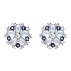 Raymond C. Yard Diamond Moonstone and Sapphire Snowflake Earrings