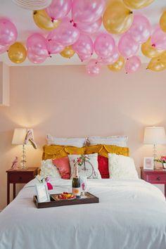 Love this wedding night suite decor idea! | Honeymoon planning checklist and timeline for couples via @weddingpartyapp