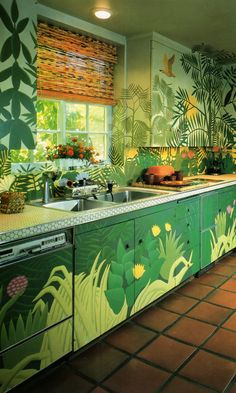 """Kitchen by Suzanne Geismar, Mural by Brice Wood The LA Times California Home Book 