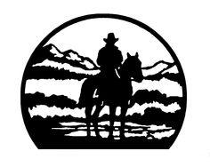 A talented Amish artist draws detailed silhouette illustrations of cowboys… Stencils, Stencil Art, Metal Artwork, Metal Wall Art, Cowboy Draw, Westerns, Plasma Cutter Art, Stylo 3d, Wal Art