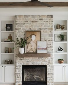 Home Decoration Ideas Living Room Shelf decor.Home Decoration Ideas Living Room Shelf decor Fireplace Built Ins, Home Fireplace, Fireplace Remodel, Fireplace Design, Fireplace With Wood Mantle, Fireplace With Bookshelves, Fireplace In Living Room, Fireplace In Kitchen, Whitewash Stone Fireplace
