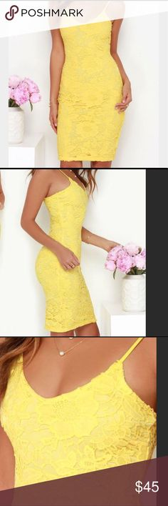 Yellow lace dress Yellow dress from lulus. Worn once to a wedding. Fitted and has a bit of stretch. Long enough to wear to a formal event. Straps for neckline and small slit in back of dress for movement. You'll love this dress!!!! Lulu's Dresses