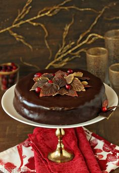 Cranberry Chocolate Truffle Cake - rich cranberry-chocolate cake with a truffle texture. Perfect for Thanksgiving dinner!