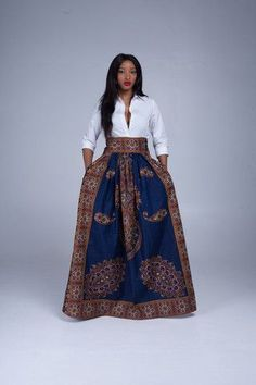 African maxi skirts are our favourite! Does anything look more timelessly beautiful than African print fabric on a long flowing skirt? Shop the Grass-fields range here. African Fashion Skirts, African Fashion Designers, African Inspired Fashion, African Print Fashion, Africa Fashion, Skirt Fashion, Fashion Outfits, Fashion Hacks, African Print Skirt