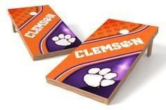 Clemson Tigers Single Cornhole Board - Swirl