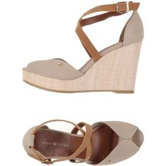 Tommy Hilfiger Sandals (290 RON) ❤ liked on Polyvore featuring shoes, sandals, beige, tommy hilfiger sandals, beige wedge shoes, beige shoes, ankle wrap wedge sandals and tommy hilfiger shoes
