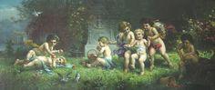 """Cherubs at Play"" by H. Zabateri (Hans Zatzka)"