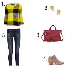 1. Topshop checkered sweater  2. Fallon stud earrings  3. Clare Vivier messenger tote  4. Sam Edelman low-cut boot  5. Rag & Bone cropped skinny jeans