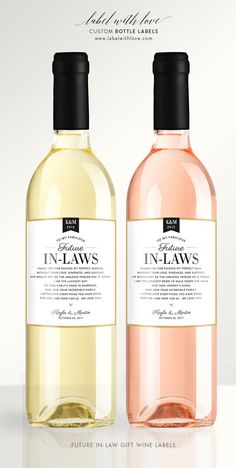 Wedding Gifts for the Parents of the Bride and Groom. Custom Wine Labels by LabelWithLove