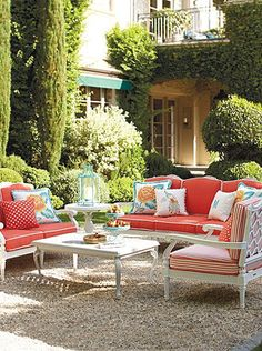 Adding bright colors to your outdoor decor can really create a happier atmosphere for your family.