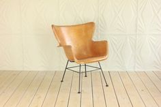 Butterscotch Fiberglass Wing Back Chair by by RetroSpecList