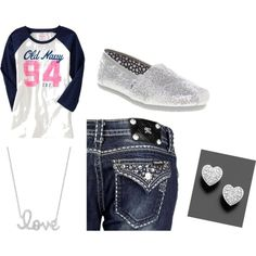 this is basically taylor's school outfit.  miss me jeans, Toms and tshirt