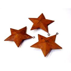 Primitive Rusty Stars, Rustic 3-Dimensional Metal Star Christmas... ($6.07) ❤ liked on Polyvore featuring home, home decor and holiday decorations