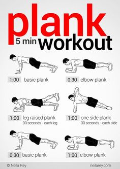 5 minute plank workout. 5 minutes! Done and done.
