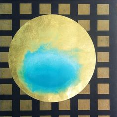 """Blue Egg by Karen Fitzgerald, 2015. 16"""" image, 23k gold on prepared paper, overall 27""""x 24"""", $2,200 framed: $2,000 unframed. #artwork #roundart #gold #gilding #natgeo #abstract #energy Price: excluding domestic shipping, NY State taxes additional. Quantity Available: x1. International Shipping: +$40.00. Comment #subscribe + your email address to subscribe to instant updates via email when I post new products! Instagram selling powered by @spreesyco #spreesy #round_art #gold #natgeo…"""