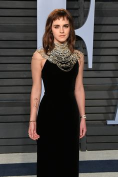 Emma Watson wearing Ralph Lauren Collection at the Vanity Fair #Oscars party.