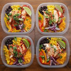 Weekday Meal-Prep Chicken Burrito Bowls Recipe by Tasty - Healthy dinner recipes - Burrito Bowl Meal Prep, Burrito Bowls, Chicken Burrito Bowl, Chicken Burritos, Taco Bowls, Fajita Bowls, Meal Prep Bowls, Healthy Meal Prep, Healthy Eating
