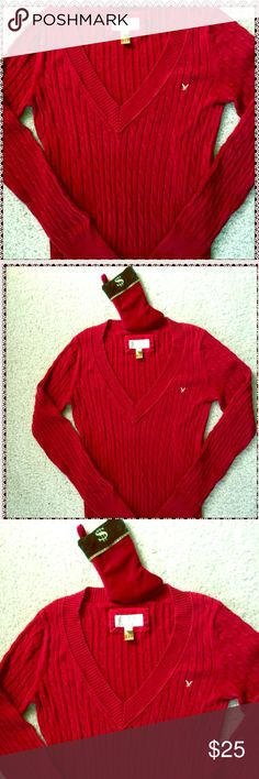 American Eagle Gorgeous Red Cable V-Neck Sweater☃️ Deep Red American Eagle Cable Knit Sweater is Gorgeous & Classic! Can be Worn For the Holiday Season Or Anytime You Want a Splash of Color Pick-Me-Up on a Winter's Day! 💨😍Very Soft 💯% Breathable Cotton! This Classic Sweater is Also Machine Washable! In EUC ☃️ American Eagle Outfitters Sweaters V-Necks