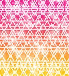 Tribal Watercolor Art Print yellow orange pink